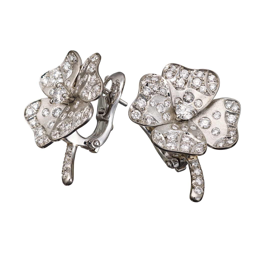 AENEA QUADRIFOGLIO Collection Earrings White Gold, Palladium with White Diamonds