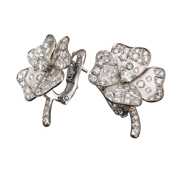 2f46de202 Earrings White Gold with White Diamonds Brushed | AENEA Jewellery