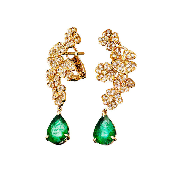 Earrings Pearshape Emeralds Yellow Gold