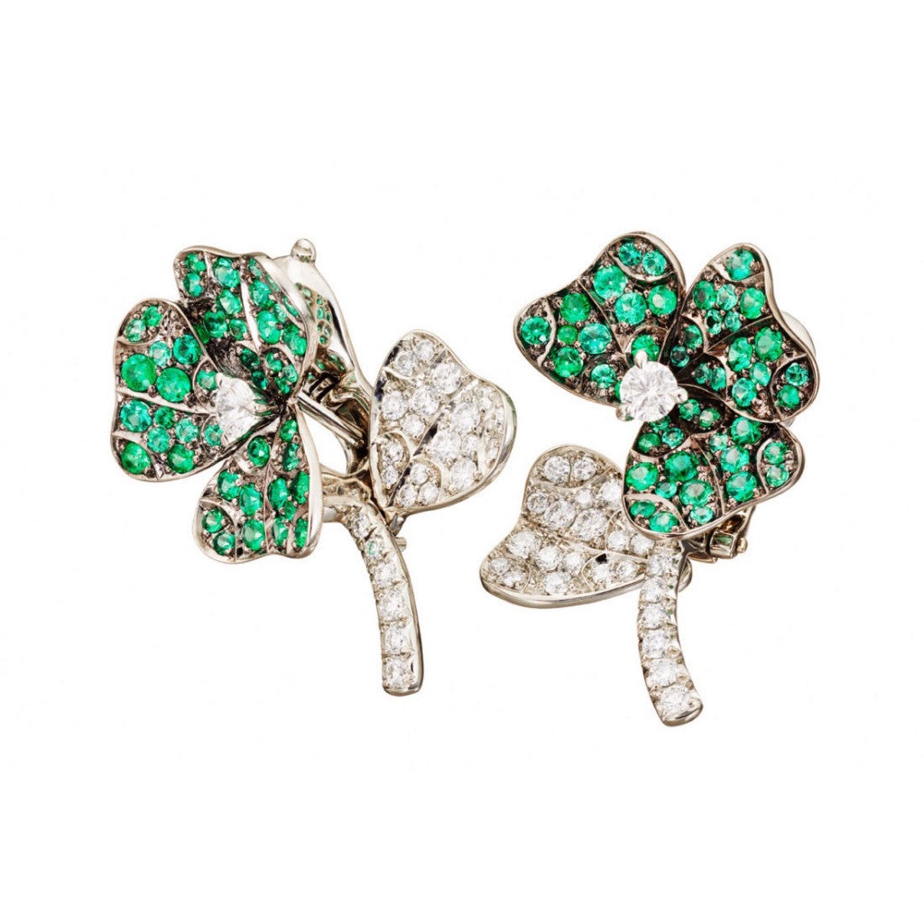 5b597495a AENEA QUADRIFOGLIO Collection Earrings Platinum and Rhodium-plated Sterling  Silver with White Diamonds and Emeralds