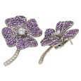 AENEA QUADRIFOGLIO Collection EARRINGS purple Amethysts and White Diamonds