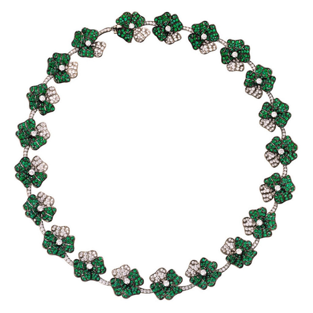 Necklace White Diamonds and Emeralds