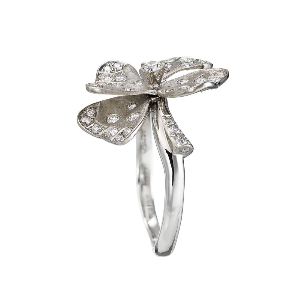 AENEA QUADRIFOGLIO Collection Ring White Gold, Palladium with White Diamonds