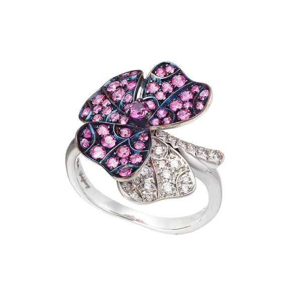 AENEA QUADRIFOGLIO Collection Ring White Gold, Palladium with Pink Sapphires and White Diamonds