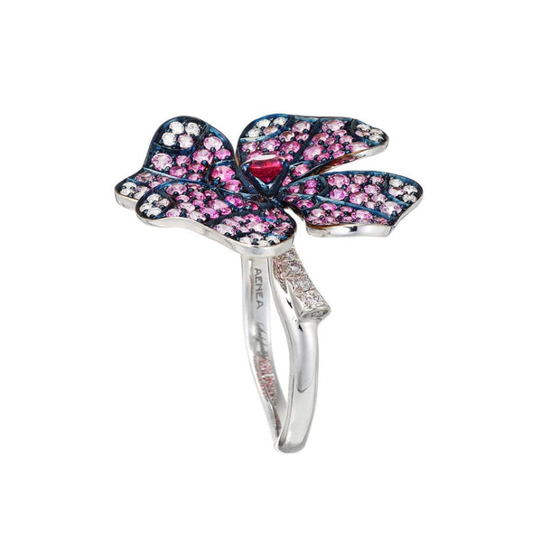AENEA Quadrifoglio Collection Ring Pink Sapphires and Diamonds