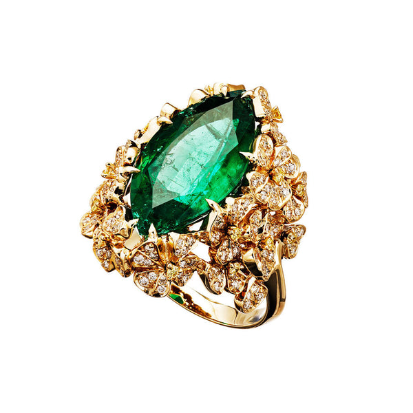 Ring Marquis Emerald Yellow Gold