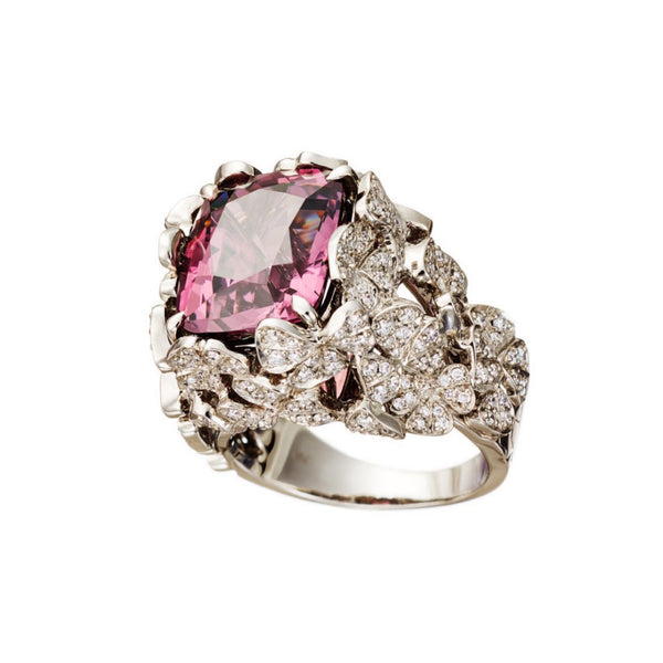 AENEA Quadrifoglio Collection Ring Palladium with Pink Spinel and Diamonds