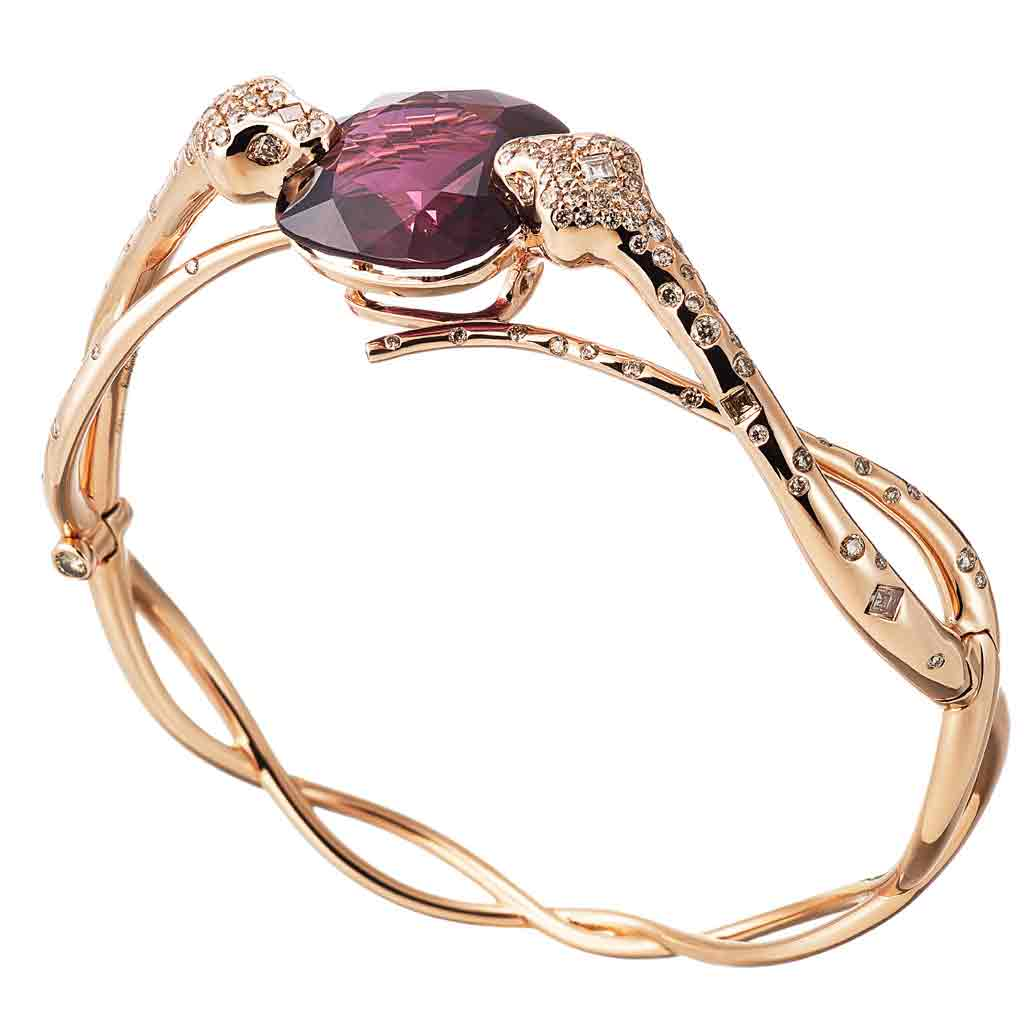 AENEA SARPA Collection Bangle Pink Gold with Rubelite and Champagne Diamonds