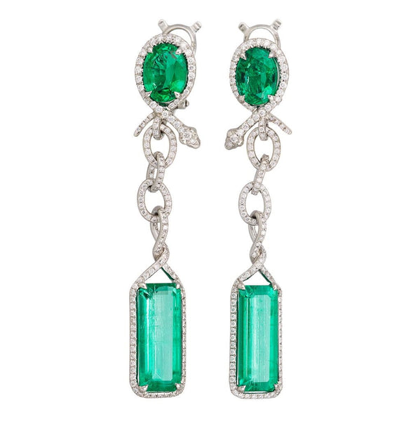 AENEA SARPA Collection Earrings Platinum with Emeralds and White Diamonds