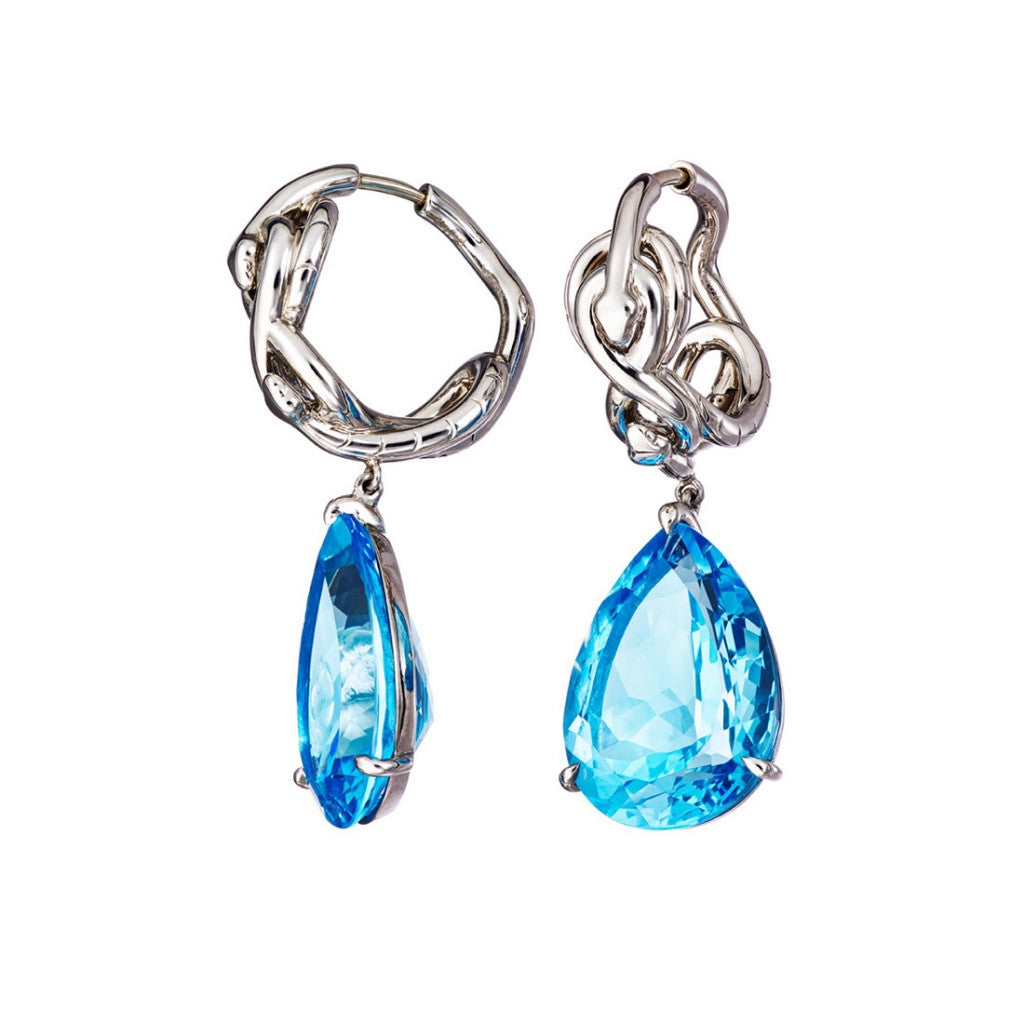 Earrings Palladium with Blue Topaz