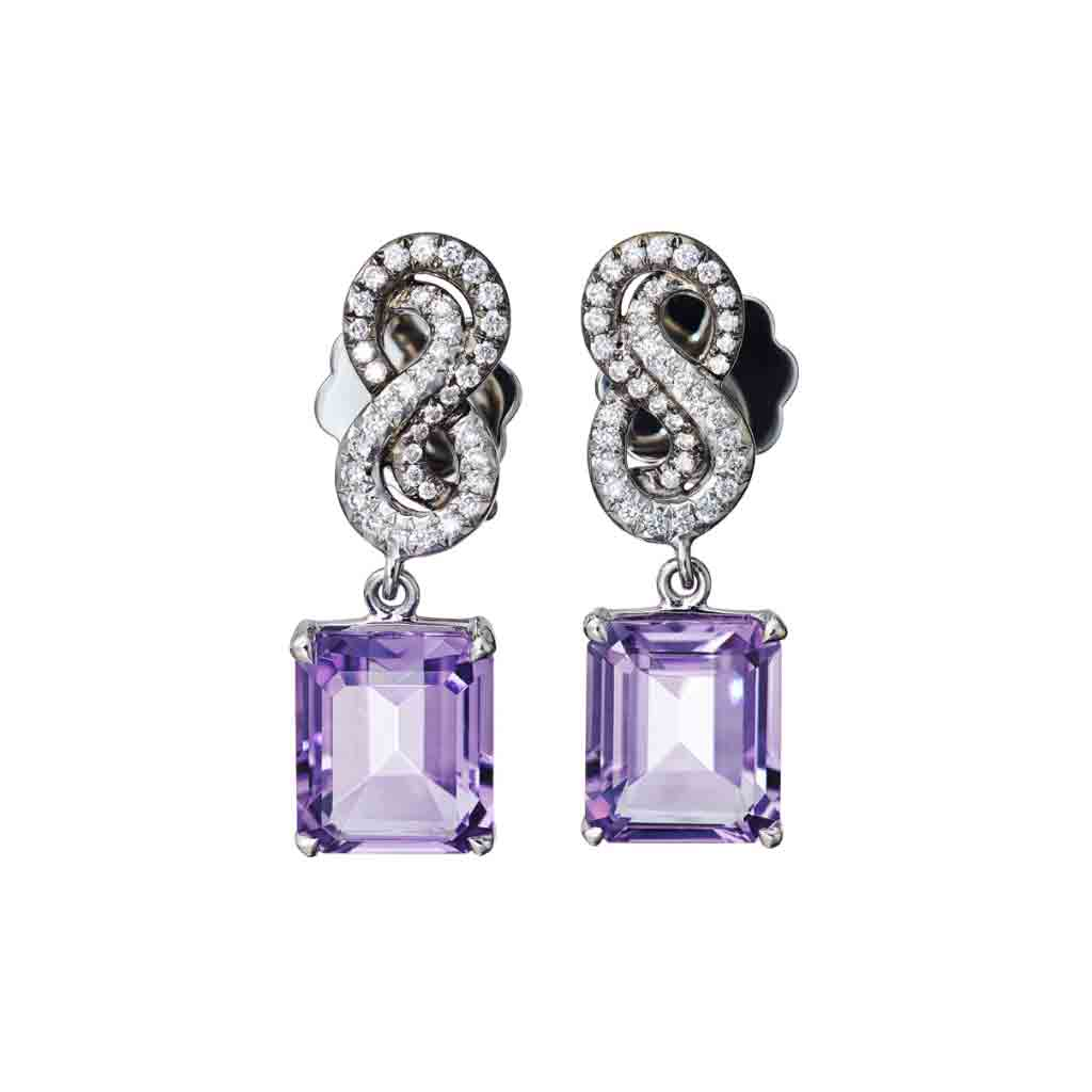 AENEA SARPA Collection Earrings Platinum with Amethysts and White Diamonds