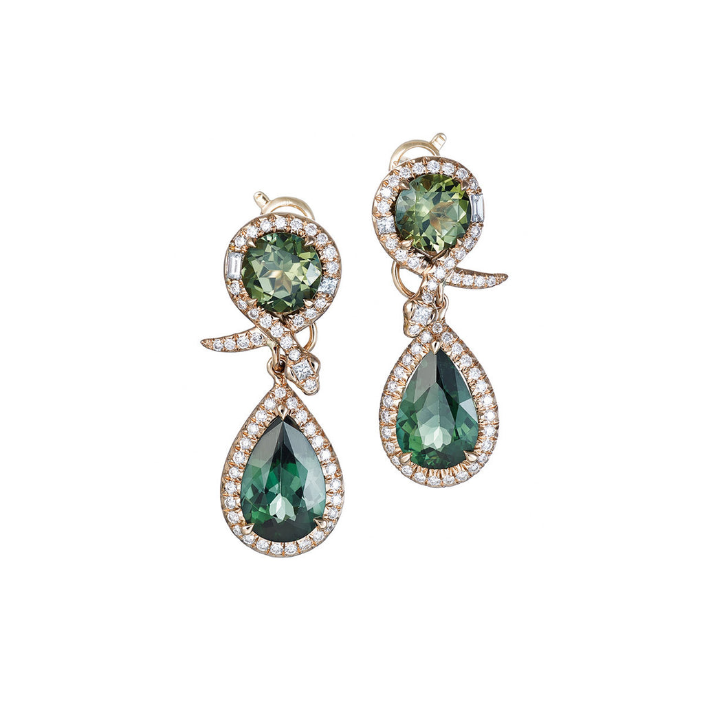 Earrings Green Tourmaline 7.54Cts