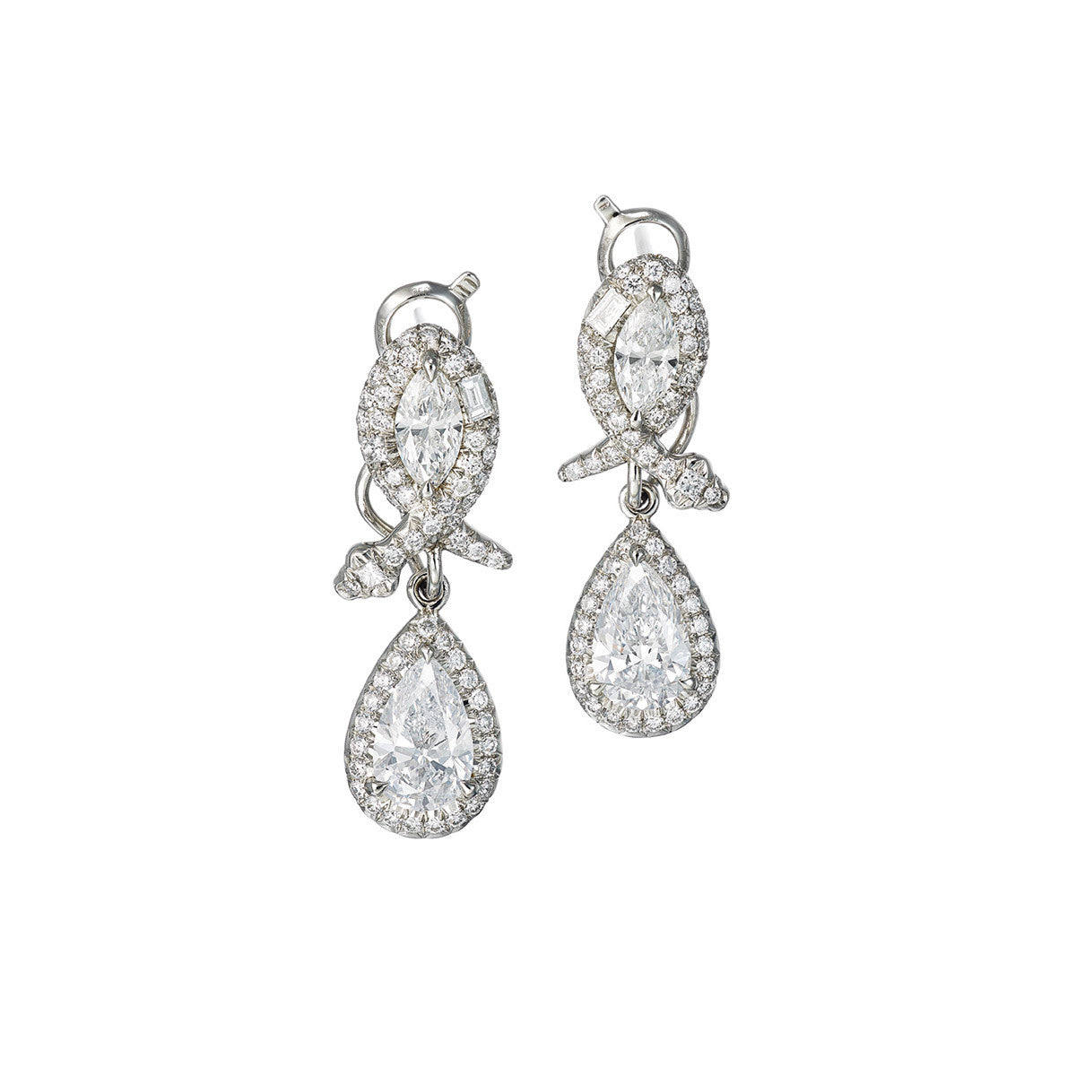 Earrings Platinum with White Diamonds 3.69Cts
