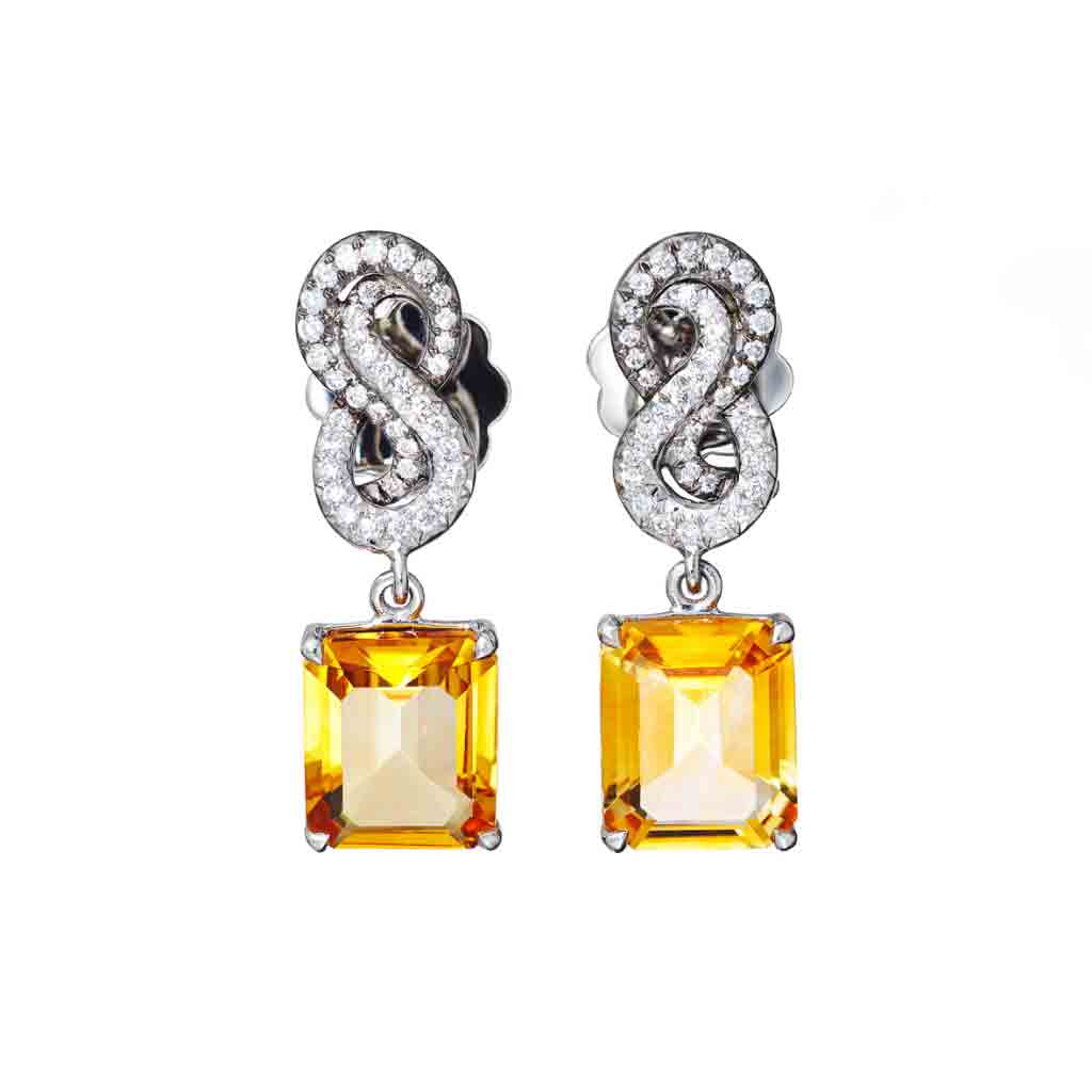 AENEA SARPA Collection Earrings Platinum with Citrines and White Diamonds