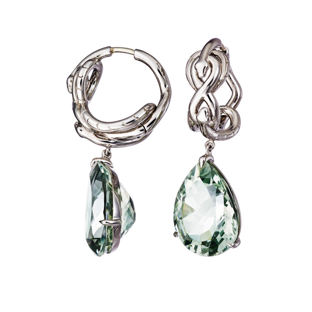 Earrings Green Amethyst Palladium