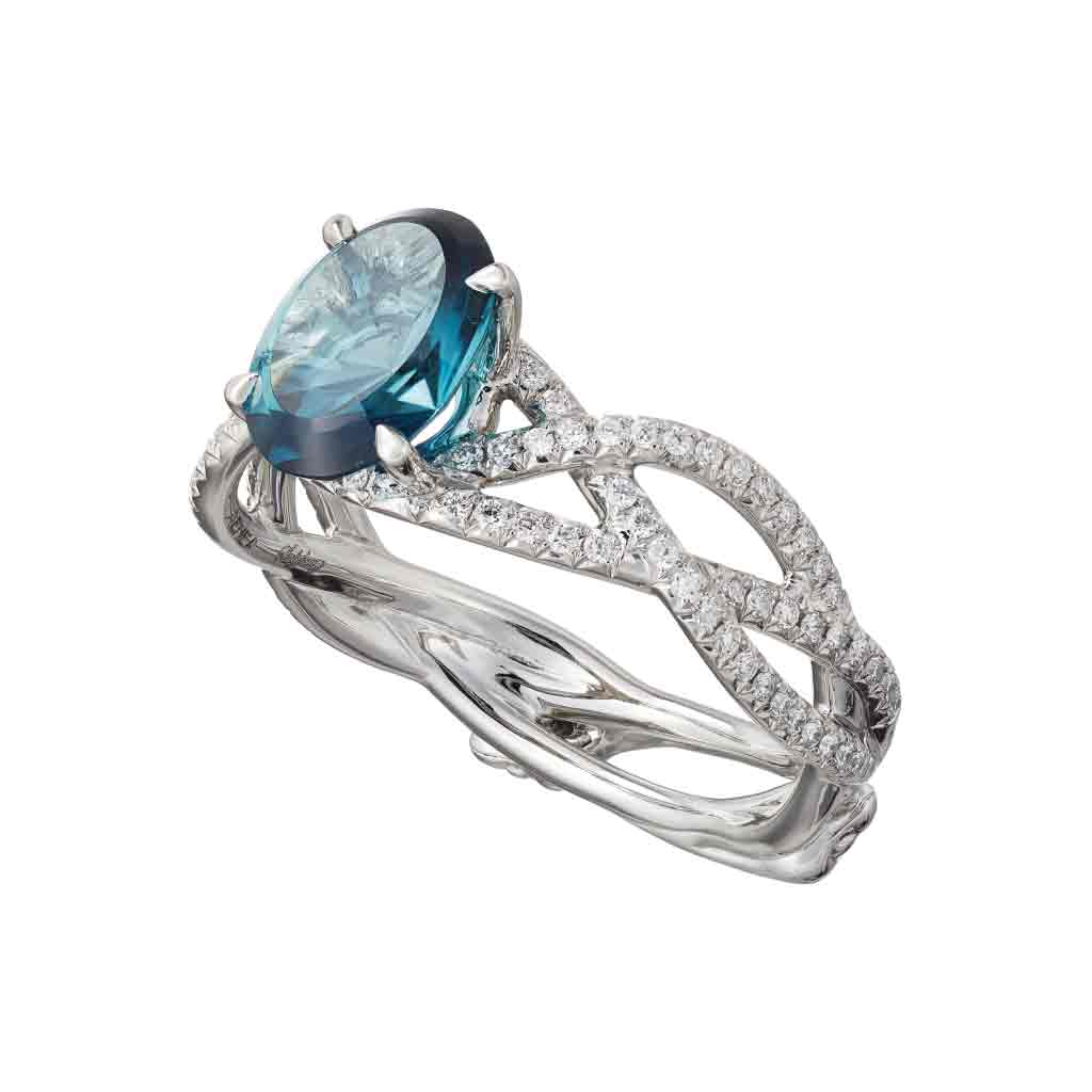 "Ring ""3 Snakes"" Platinum with an oval Blue Tourmaline and White Diamonds"