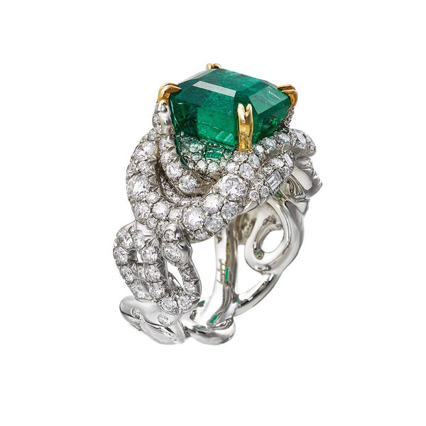 Ring 4 Snakes Diamonds and Emerald