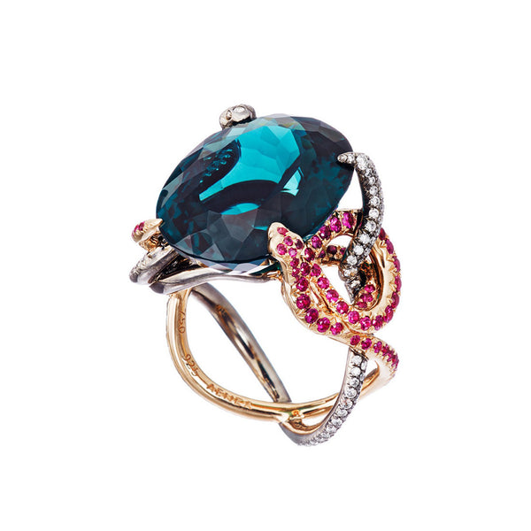 Ring Teal Tourmaline Petrol