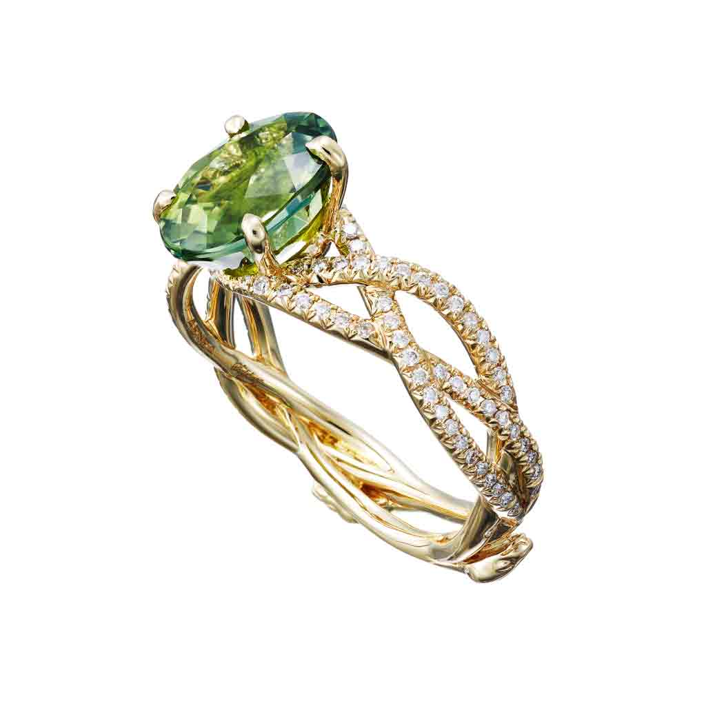 "Ring ""3 Snakes"" Yellow Gold with White Diamonds and a Green Tourmaline 2.71ct."