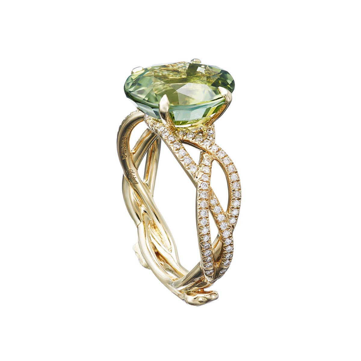 "Ring ""3 Snakes"" Yellow Gold with White Diamonds and a Green Tourmaline 4,25ct."