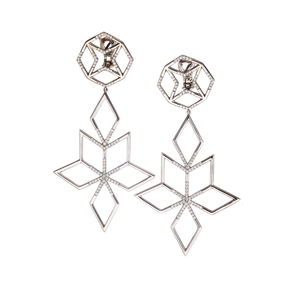 Earrings Palladium White Diamonds Big