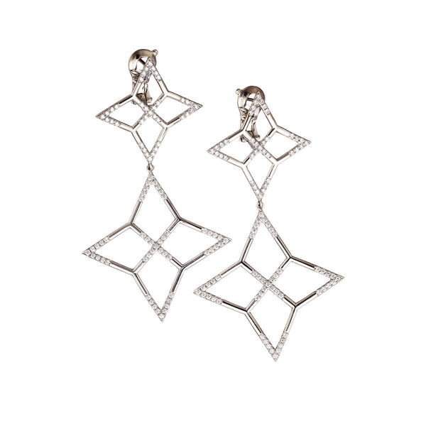Earrings Palladium White Diamonds Small