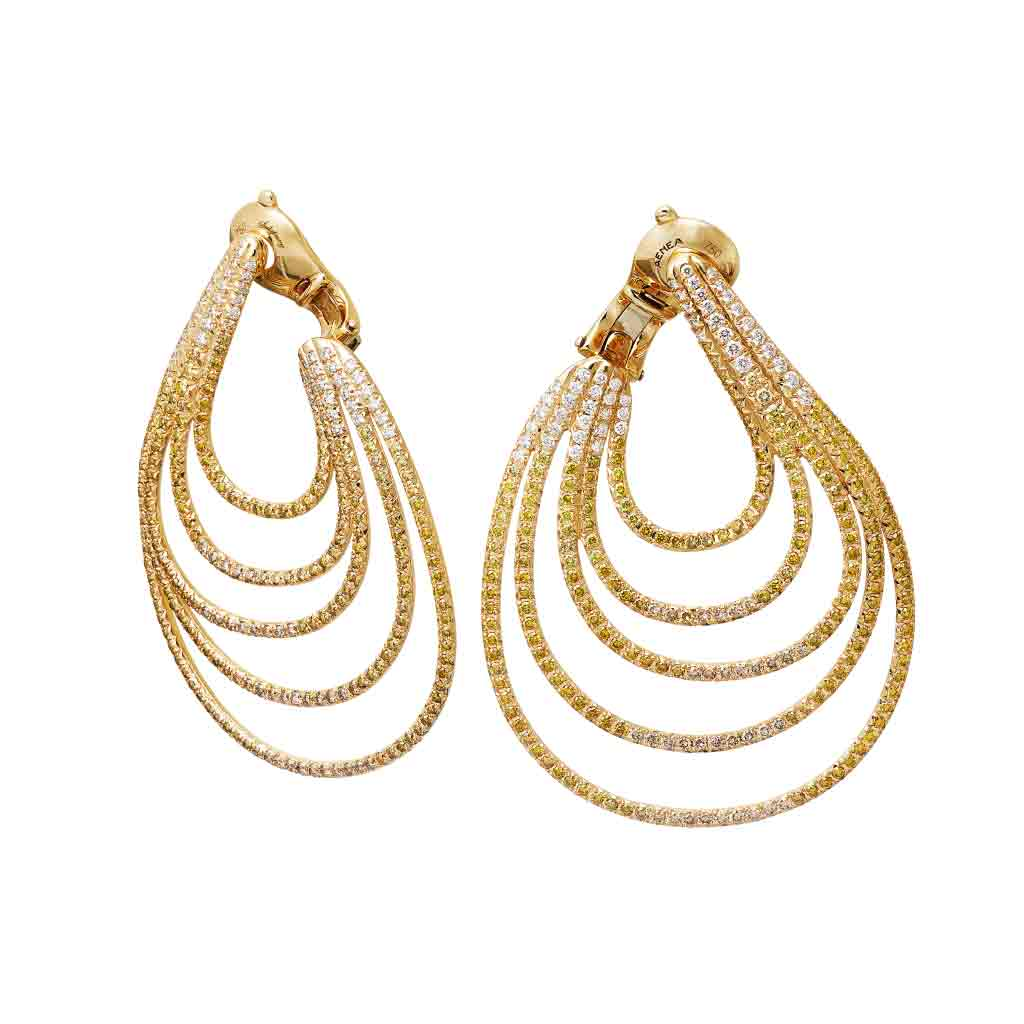 AENEA Wave Collection Earrings Yellow Gold with Diamonds