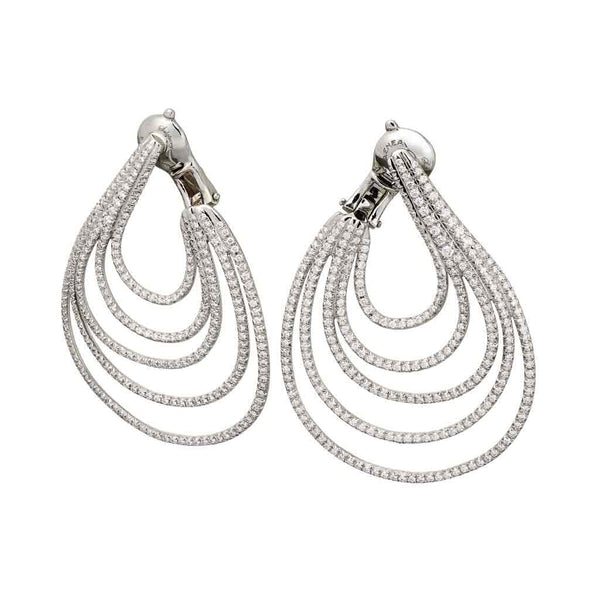 AENEA WAVE Collection Earrings Palladium with White Diamonds