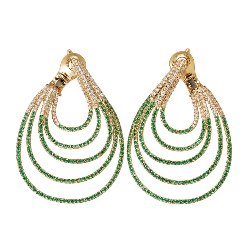 AENEA WAVE Collection Earrings Yellow Gold with White Diamonds and Emeralds