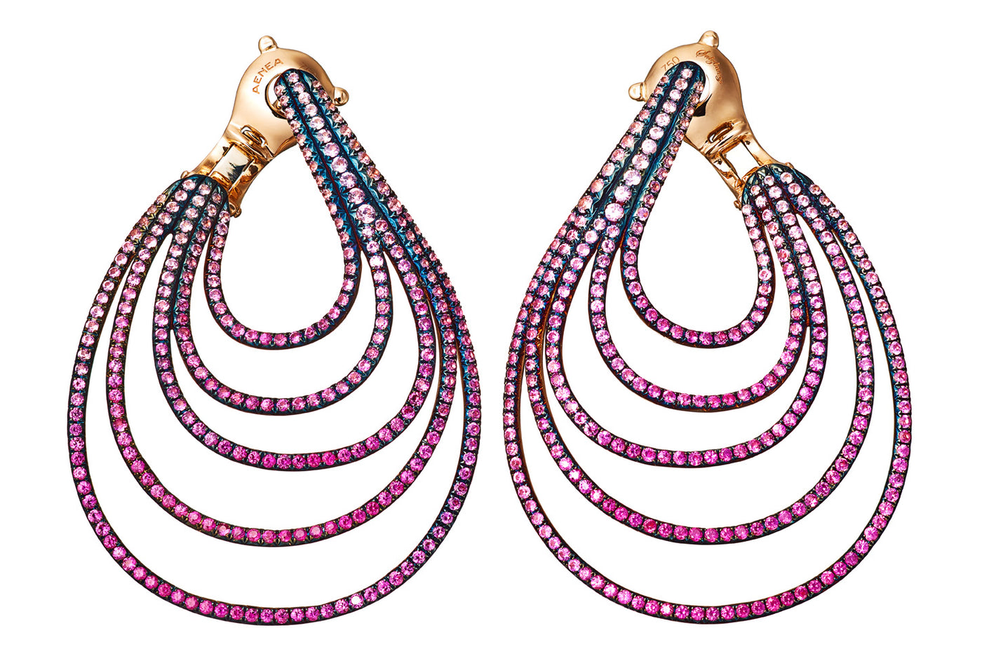 AENEA WAVE Collection Earrings Pink Gold with Pink Sapphires