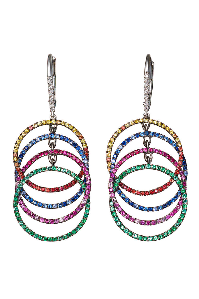 AENEA WAVE Collection Earrings White Gold with multicoloured Gemstones