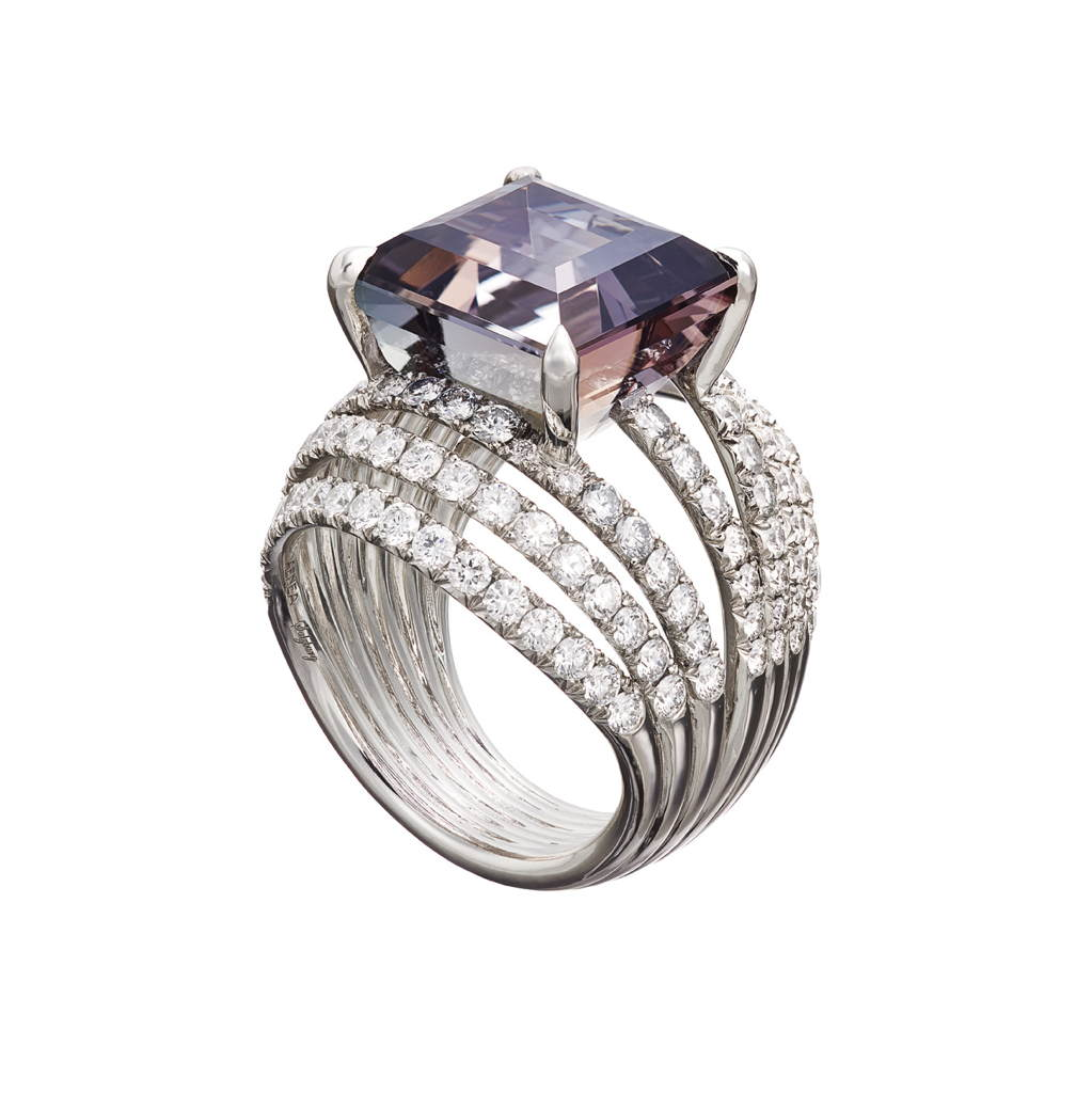 AENEA WAVE Collection Ring White Gold and Sterling Silver with White Diamonds and Tanzanite