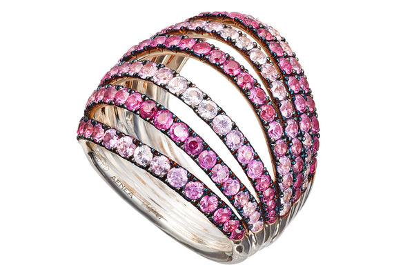 AENEA WAVE Collection Ring Pink Gold and Palladium with Pink Sapphires
