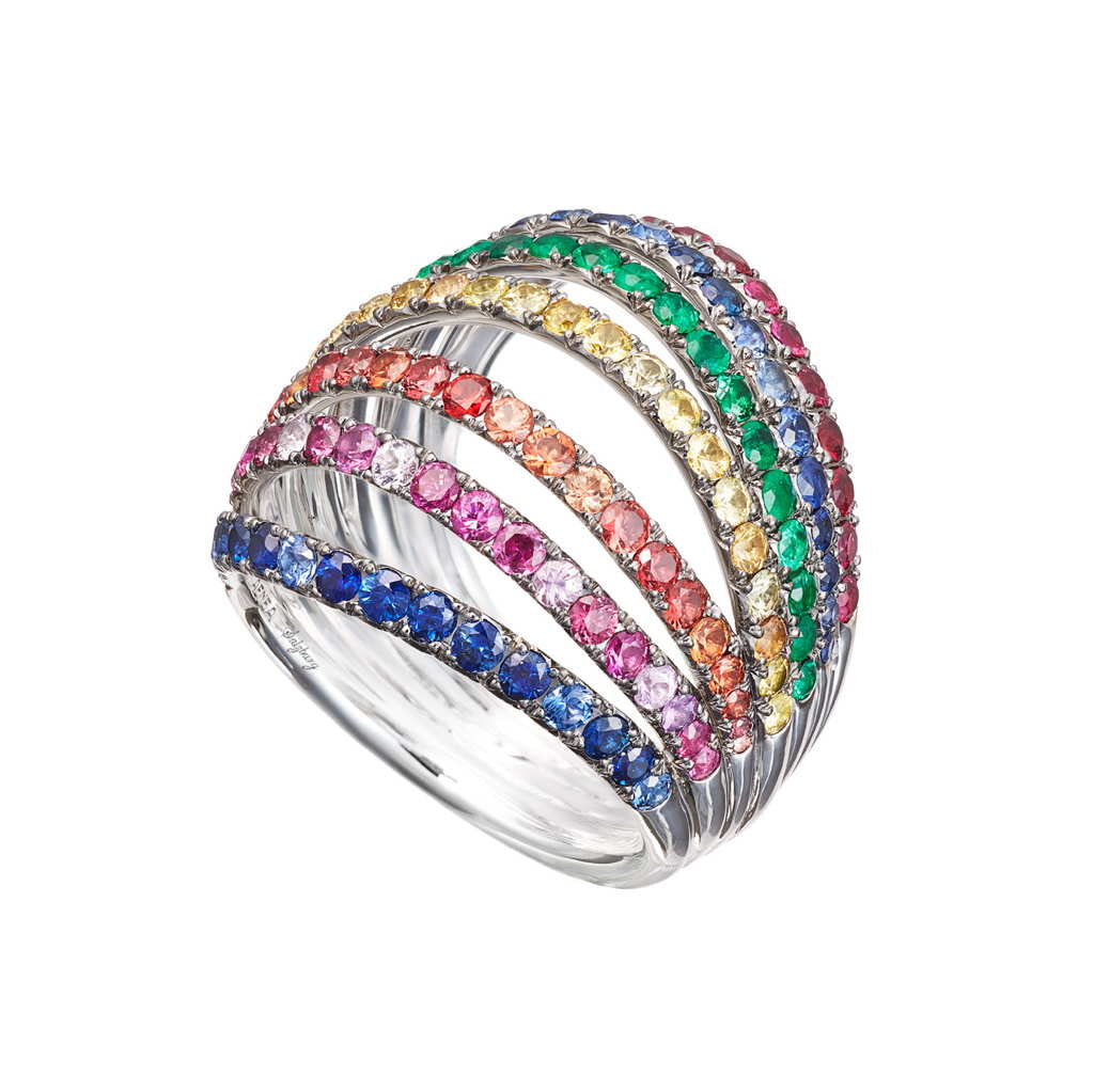AENEA WAVE Collection Ring White Gold with multicoloured Gemstones