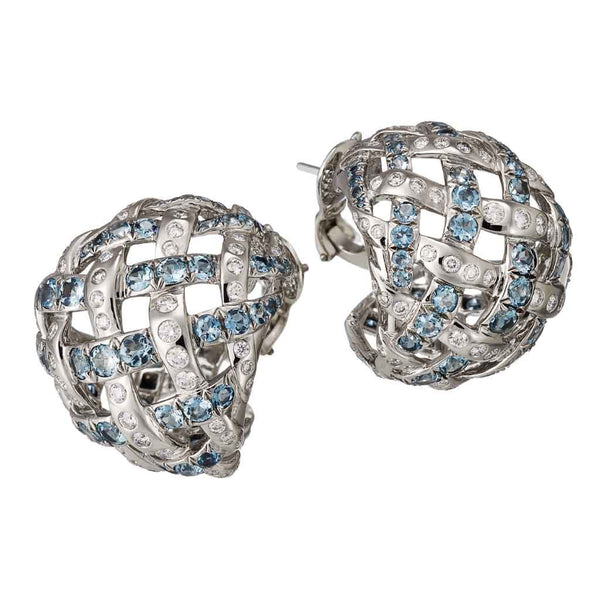 AENEA WEB Collection Earrings with Aquamarines, White Diamonds and Palladium