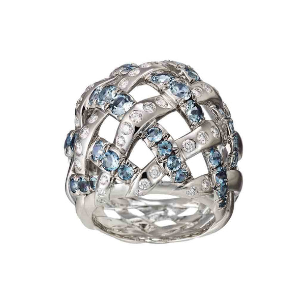 AENEA WEB Collection Ring Palladium with White Diamonds and Aquamarines
