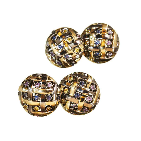 AENEA WEB Collection Cufflinks Rainbow with Yellow Gold, Silver and Black Rhodium