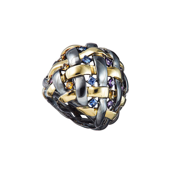 AENEA WEB Collection Ring Yellow Gold , Sterling Silver, Black Rhodium, Pink Sapphires, Blue Sapphires, Rubies, Amethyst and Citrin