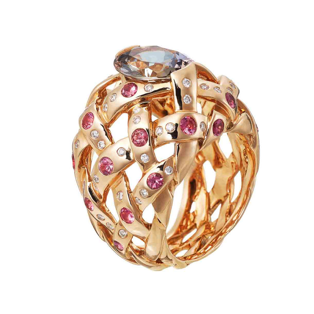 AENEA WEB Collection Ring Pink Gold with White Diamonds, Pink Spinels and Tanzanite