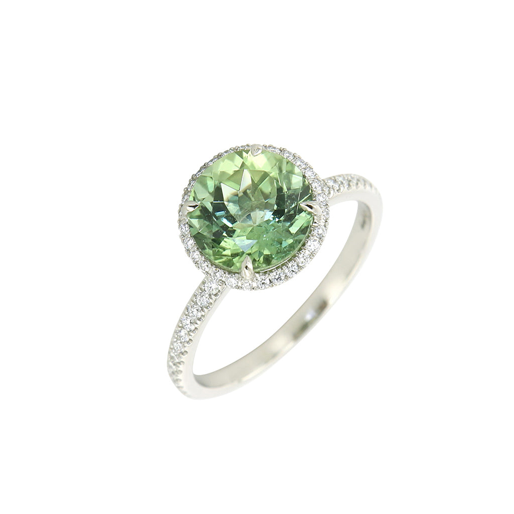 AENEA CANDY Collection Ring White Gold with green Tourmaline and White Diamonds