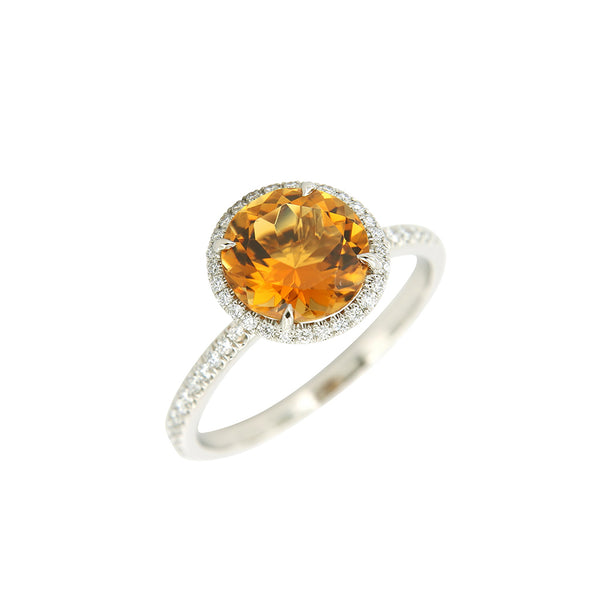 AENEA CANDY Collection Ring White Gold with orange Tourmaline and White Diamonds