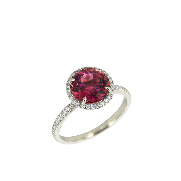 AENEA CANDY Collection Ring White Gold with pink Tourmaline and White Diamonds