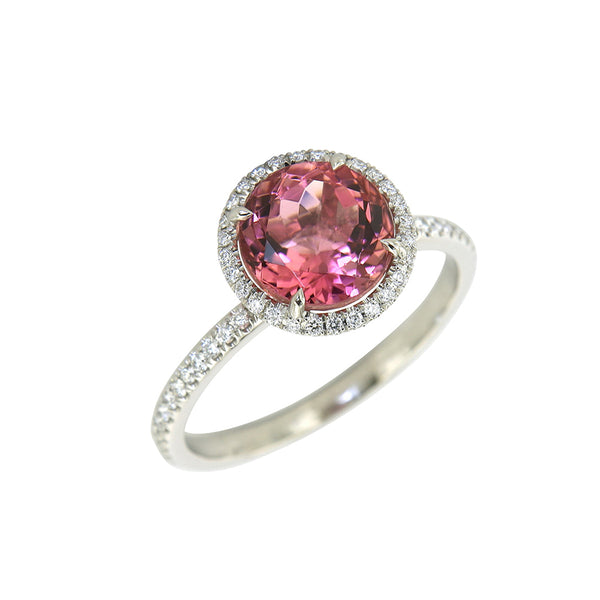 AENEA CANDY Collection Ring White Gold with light pink Tourmaline and White Diamonds