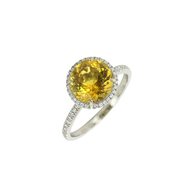 AENEA CANDY Collection Ring White Gold with yellow Tourmaline and White Diamonds
