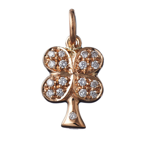 AENEA CHARM COLLECTION Pendant Cloverleaf Yellow Gold with White Diamonds