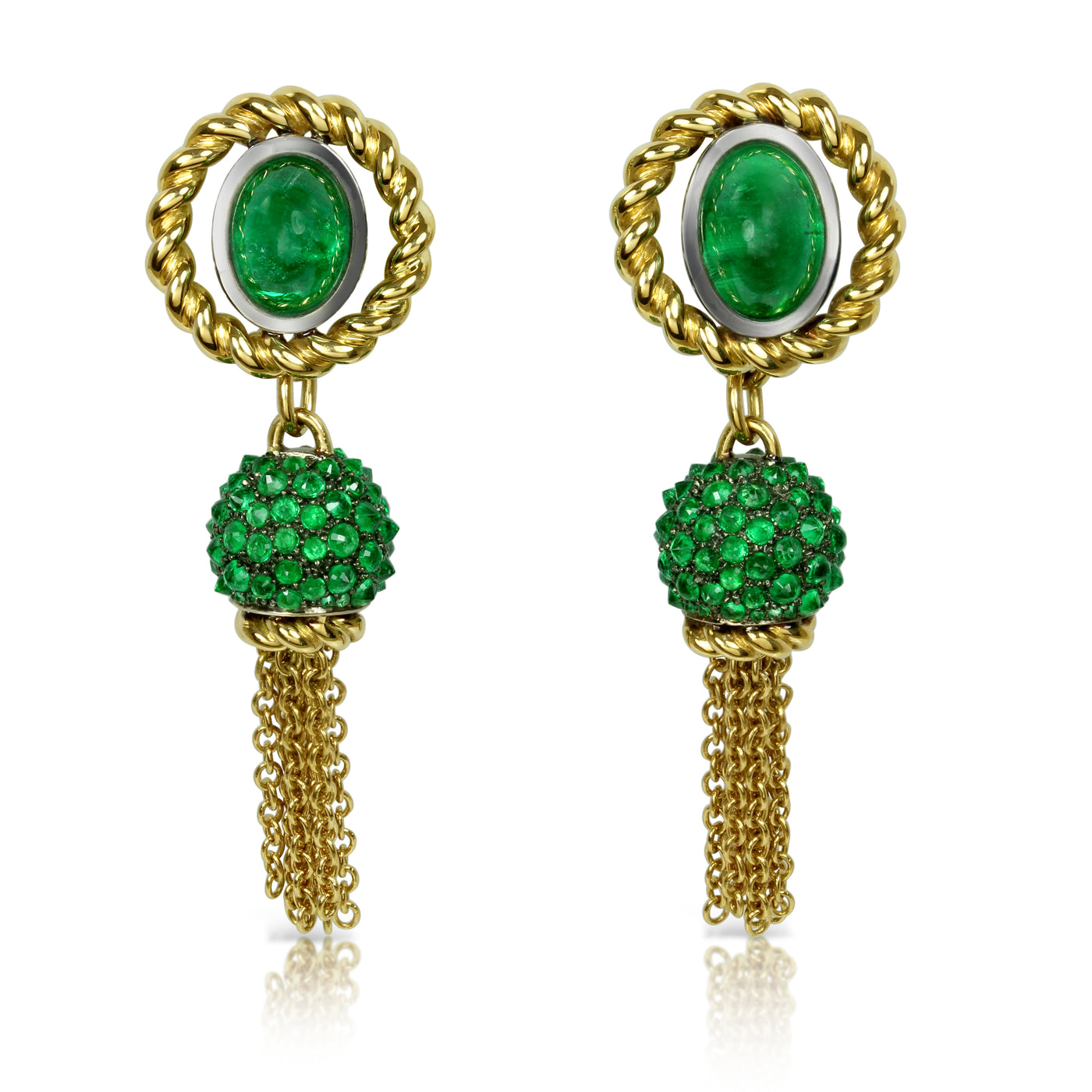 "Earrings ""Double Helix"" Yellow Gold and Rhodium-plated Sterling Silver with Emeralds"