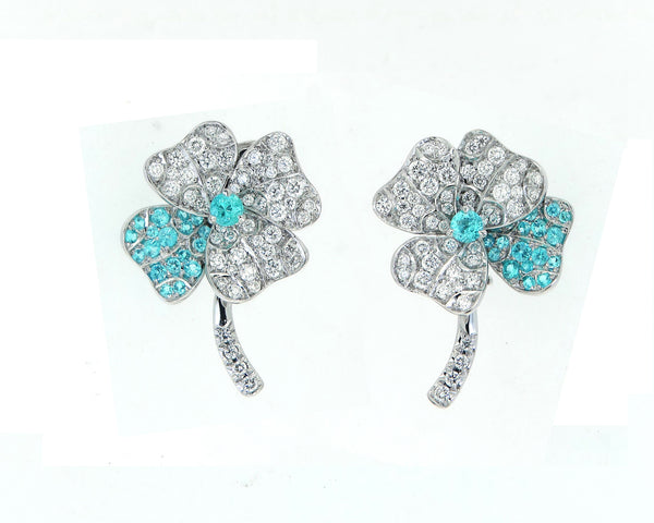 Earrings White Gold with Paraiba Tourmalines and White Diamonds