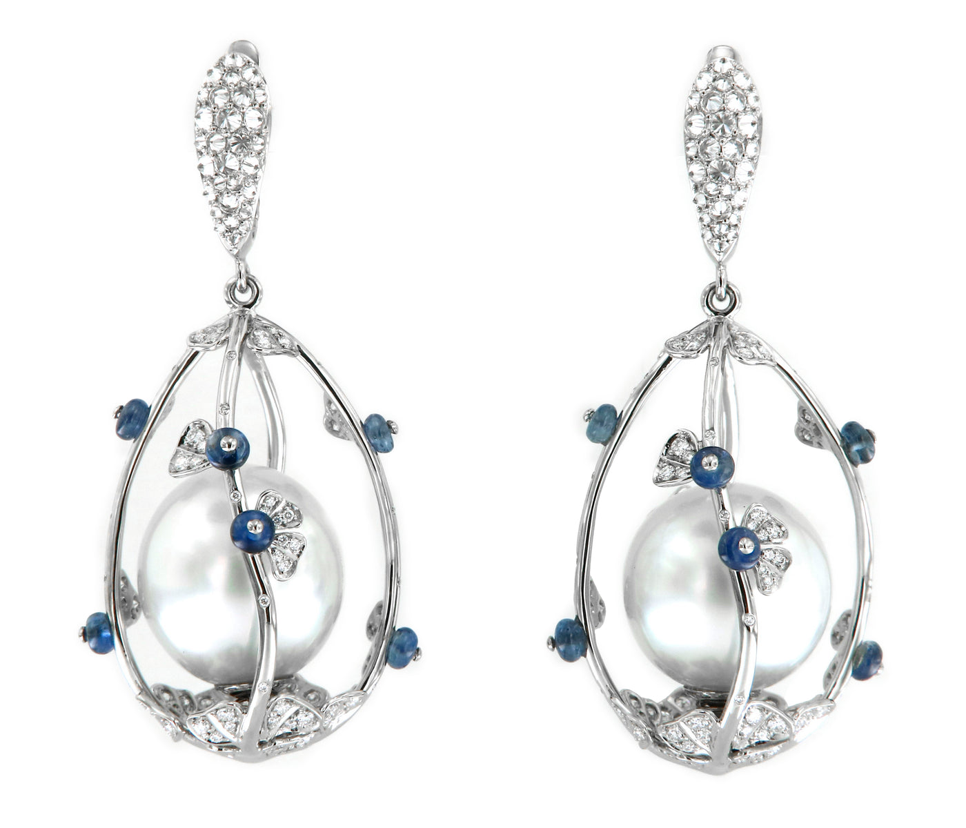 "Earrings ""Pearlcage"" Platinum with Southseapearls, White Diamonds and Blue Sapphires"