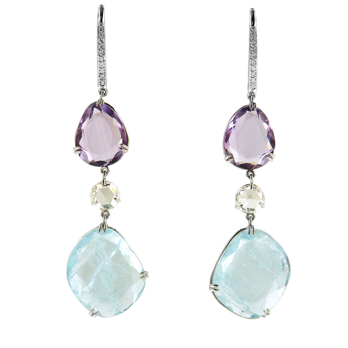Earrings Platinum with Aquamarines, Amethysts and White Diamonds