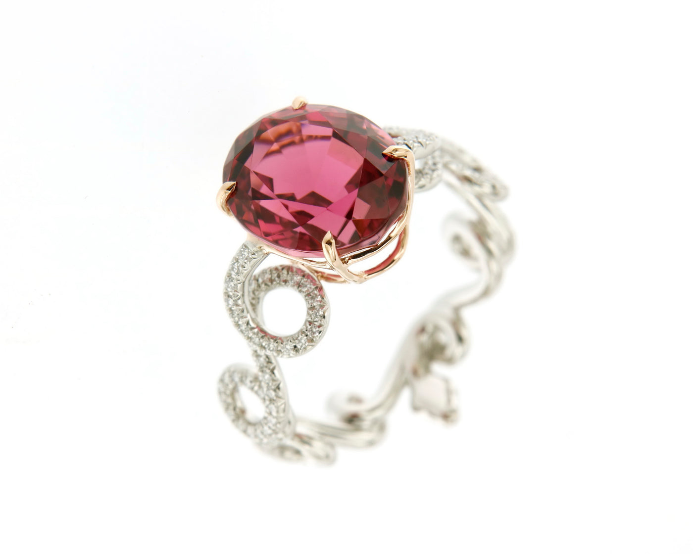 Ring Platinum with a Pink Tourmaline and White Diamonds
